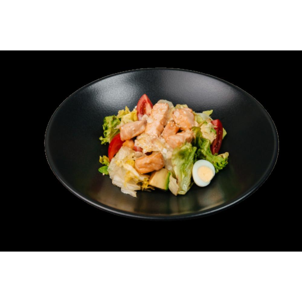 Салат теплий з лососем